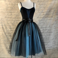 Black and tiffany blue aqua  tutu skirt for women.  Ballet glamour. Retro look tulle skirt.