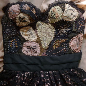 Dark Meadow Wedding Gown or Formal Dress... bustier black lace witch whimsical woodland gothic floral wiccan boho alternative dark corset