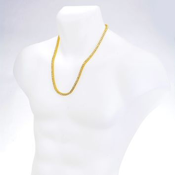 Jewelry Kay style NEW Men's Iced Out RH 14K Gold Plated 4 mm Round Stone Tennis Chain Necklace