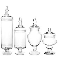 (Set of 4) Large Classic Clear Glass Lid Apothecary Jars / Candy Buffet / Wedding Centerpiece - MyGift® Home
