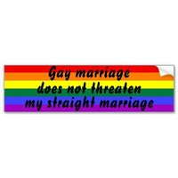 Gay marriage does not threaten my straight marriag bumper stickers from Zazzle.com