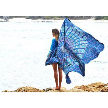 MDIG9GW 2016 Indian Mandala Tapestry Hippie Peacock Printed Wall Hanging Rectangle Boho Bohemian Beach Towel Mat Home Decor