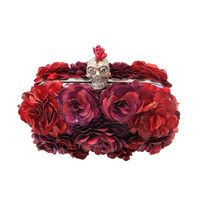 Alexander McQueen Flowered Encrusted Skull Clutch