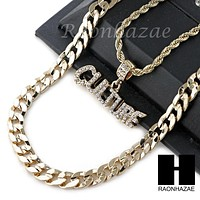 "ICED OUT MIGOS CULTURE 2 CHARM DIAMOND CUT 30"" CUBAN CHAIN NECKLACE SET G22"