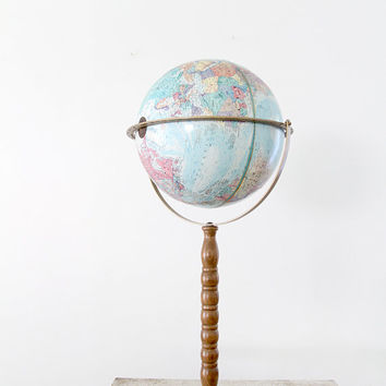 Vintage World Globe 1970s Replogle On Tall Stand