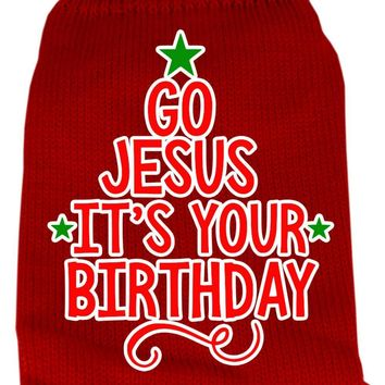Go Jesus Screen Print Knit Pet Sweater Lg Red