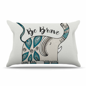 "Pom Graphic Design ""Be Brave"" Teal Typography Pillow Sham"