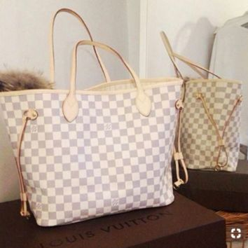 "Hot Sale ""Louis Vuitton"" Fashionable Women Shopping Bag Leather Handbag Bag Cosmetic Bag Two Piece Set I/A"