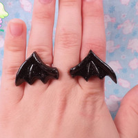 Pastel Goth Bat Wing Rings - Black