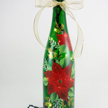 Lighted Wine Bottle Red Poinsettia Hand Painted 750 ml