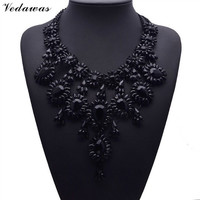 2015 Hot XG137 New Vintage Black Branch Necklaces & Pendants Black Crystal Statement Collar Choker Necklace Jewelry Accessorie