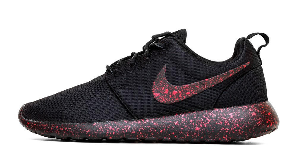 22d5c116fca2 Nike Roshe One Customized by Glitter Kicks - Triple Black + Red Paint  Speckle