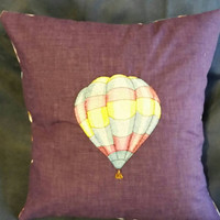 Hot air balloons embroidered pillow cover handmade purple cotton