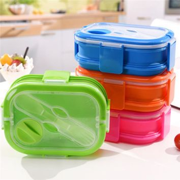 4 Color Colorful Silicone Lunch Box Set For Kids 2 Layers Kitchenware Kitchen Accessories Tableware Food Container With Handle