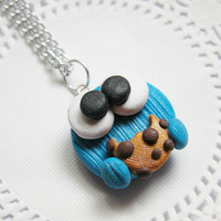 Cookie Monster Necklace Fimo Jewelry Polymer Clay Jewelry for Tweens Teens and Adults