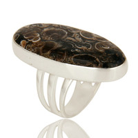 Handmade Sterling Silver Natural Turritella Agate Gemstone Statement Ring