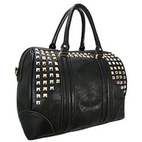Silver & Gold Pyramid Studded Handbag Purse w/ Detachable Shoulder Strap (Black)