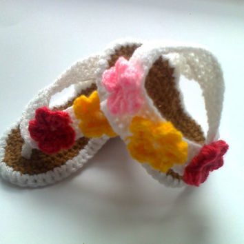 Pink , White and Yellow Crochet Baby Sandals for Girls, Flip Flop Sandals, Crochet Baby Shoes