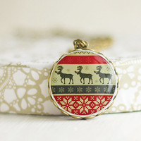 Winter Ornaments Necklace, Winter Deers Pendant, Gray and Red Pendant