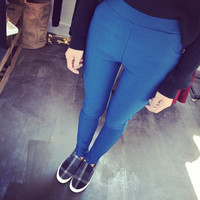 Autumn and winter thick flat woven pencil leggings
