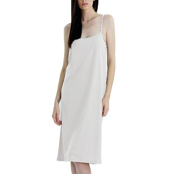 Long Solid Knit Basic Full Slip Dress with adjustable straps