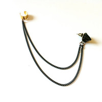 Black Pyramid Chain Ear Cuff
