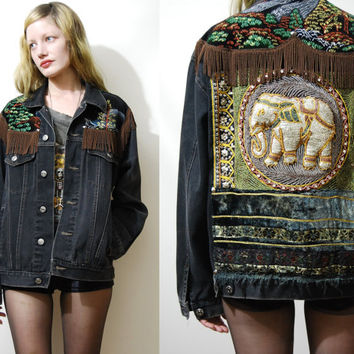 Vintage ELEPHANT Jacket Fringe Sequin Patch Embroidered Painted Velvet Black Denim Handmade ooak Grunge Bohemian Gypsy xs-l