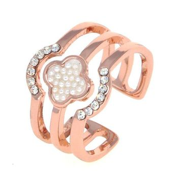 VONEC4W Dear Deer Rose Gold Plated Faux Pearl CZ Pave Floral Open End Wide Band Ring