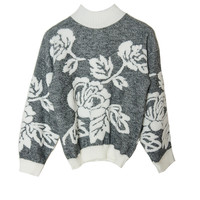 SC018 80s Summer Rose Knit Sweater
