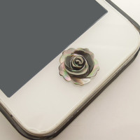 1PC Natural Black Shell Rose Flower iPhone Home Button Sticker Charm for iPhone 4,4s,4g,5,5c Cell Phone Charm Valentine Gift
