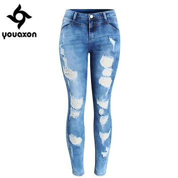 2080 Youaxon Women`s Plus Size Brand New Fashion Mid Waist Ripped Stretch Skinny Pants Jeans For Women True Denim Jean