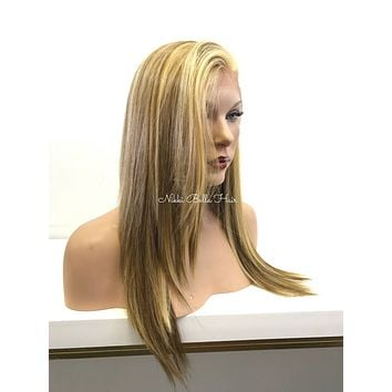 Balayage Light Brown Reddish Blond Platinum Human Hair Blend Deep Real Hair Part Lace Front Wig -  Micayla