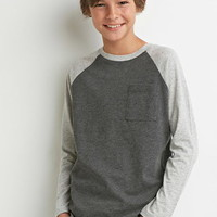 Boys Heathered Round-Hem Baseball Tee (Kids)
