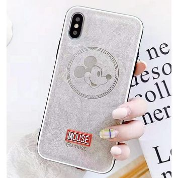 Mickey Mouse New fashion letter mouse leather protective case cover phone case Gray