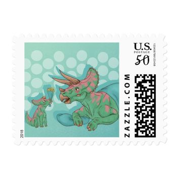 Triceratops Giving Flowers Postage