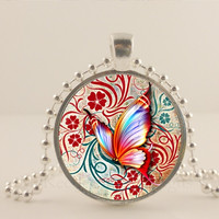 Red Butterfly glass and metal Pendant necklace Jewelry.
