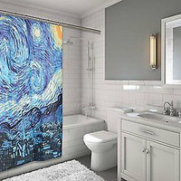 "MoMa Collection The Starry Night Design Fabric Shower Curtain Size: 70"" x 72"""