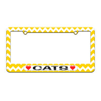 Cats Love with Hearts - License Plate Tag Frame - Yellow Chevrons Design