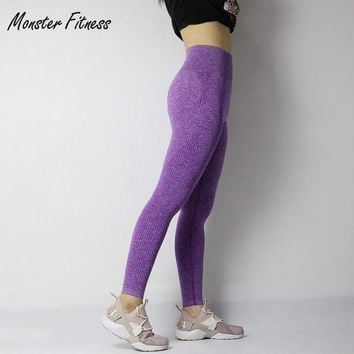 Monster Fitness 2018 Gym Tights Tummy Control Yoga Pants High Waisted Sport Ombre Seamless Leggings Running Yoga Pants Women