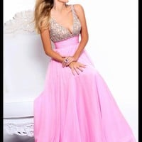 WowDresses — Alluring A-line V-neck Sweep Train Prom Dress