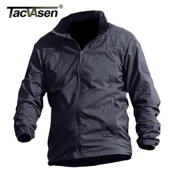 TACVASEN Summer Waterproof Quick Dry Tactical Skin Jacket Men Hooded Raincoat Thin Windbreaker Army Military Jacket TD-QZJL-013