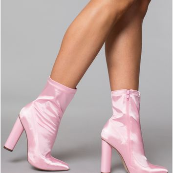 SOMETHING SWEET PINK SATIN ANKLE BOOTS