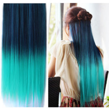 Uniwigs Colorful Clip in Hair Extension 60cm Length Straight for Fashion Women - UniWigs ® Official Site
