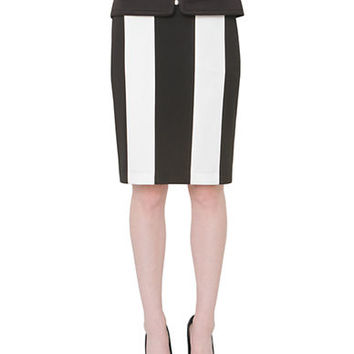 Isaac Mizrahi New York Striped Pencil Skirt