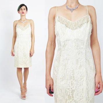 80s 90s Lace Wedding Dress Beaded Wedding Dress Cream Floral Lace Mini Dress Beige Sleeveless Party Sexy Corset Lace Up Back Dress (S)
