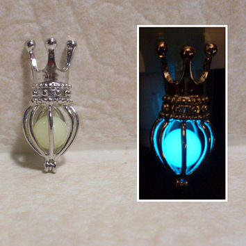 GLOW in the DARK Crowned Cage Silver Locket Charm Necklace -- Green, Aqua, Blue, Yellow, White, Orange, Red, Pink, Purple