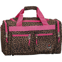 "Rockland Luggage Freestyle 19"" Tote Bag - Pink Leopard Travel Duffel NEW"
