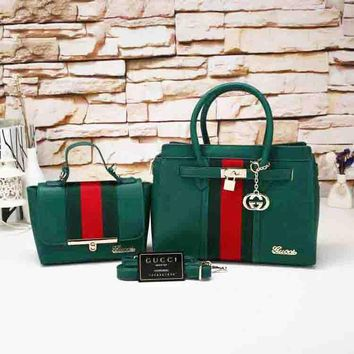 Gucci Women Leather Shoulder Bag Tote Handbag Set Two-Piece