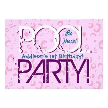 1st Birthday Pool Party Pink Bubbles  Template Personalized Invitations