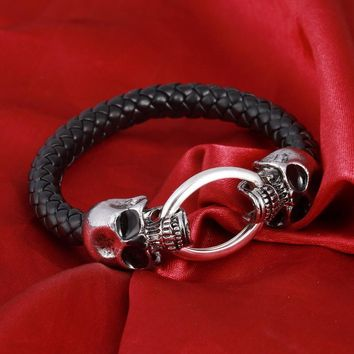 Silver Stainless Steel Skull Bracelet- Weave leather bracelet & Bangle Punk/Goth - Ships Free
